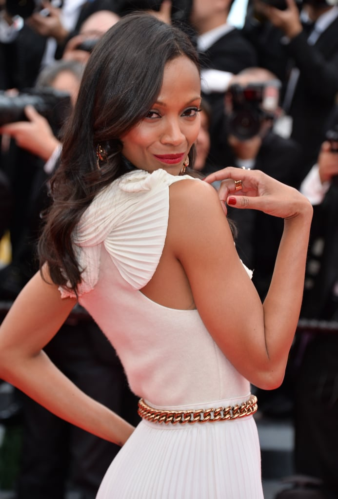 Zoe Saldana's toned arms were front and center on the Grace of Monaco red carpet.