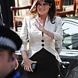 When she attended the wedding of her cousin Zara Phillips, Eugenie opted for a bigger, bi-color hat.