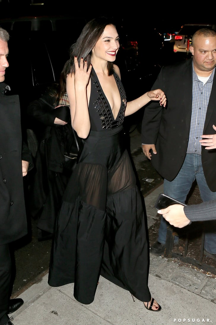 Gal Gadot Wearing Sheer Black Dress Popsugar Fashion Photo 4