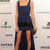 Karolina Kurkova highlighted her stems in a pair of lace-up heels and a high-low Vionnet gown.