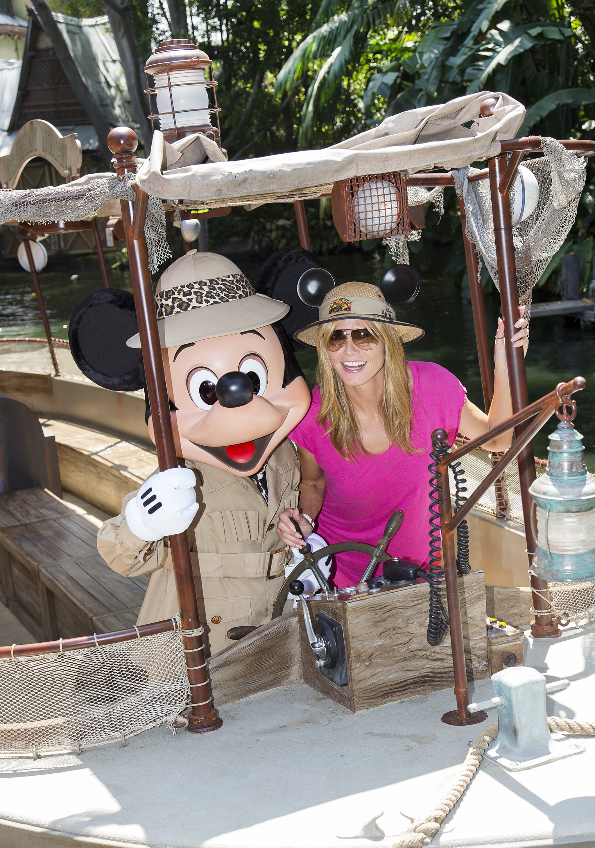 Heidi Klum took a jungle cruise with Mickey Mouse in May 2014.