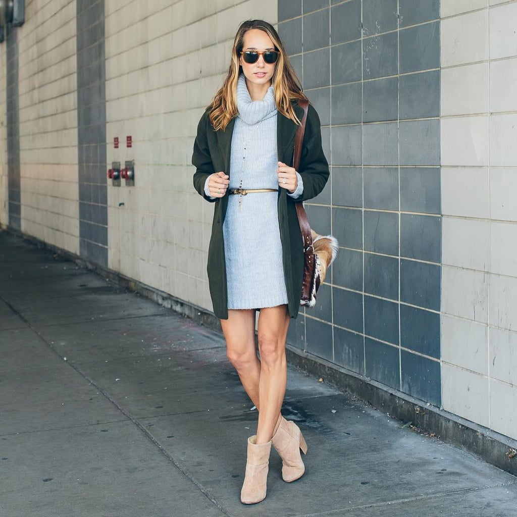 A Cowl-Neck Sweater Dress, a Blazer, Tan Booties, and a Skinny Belt