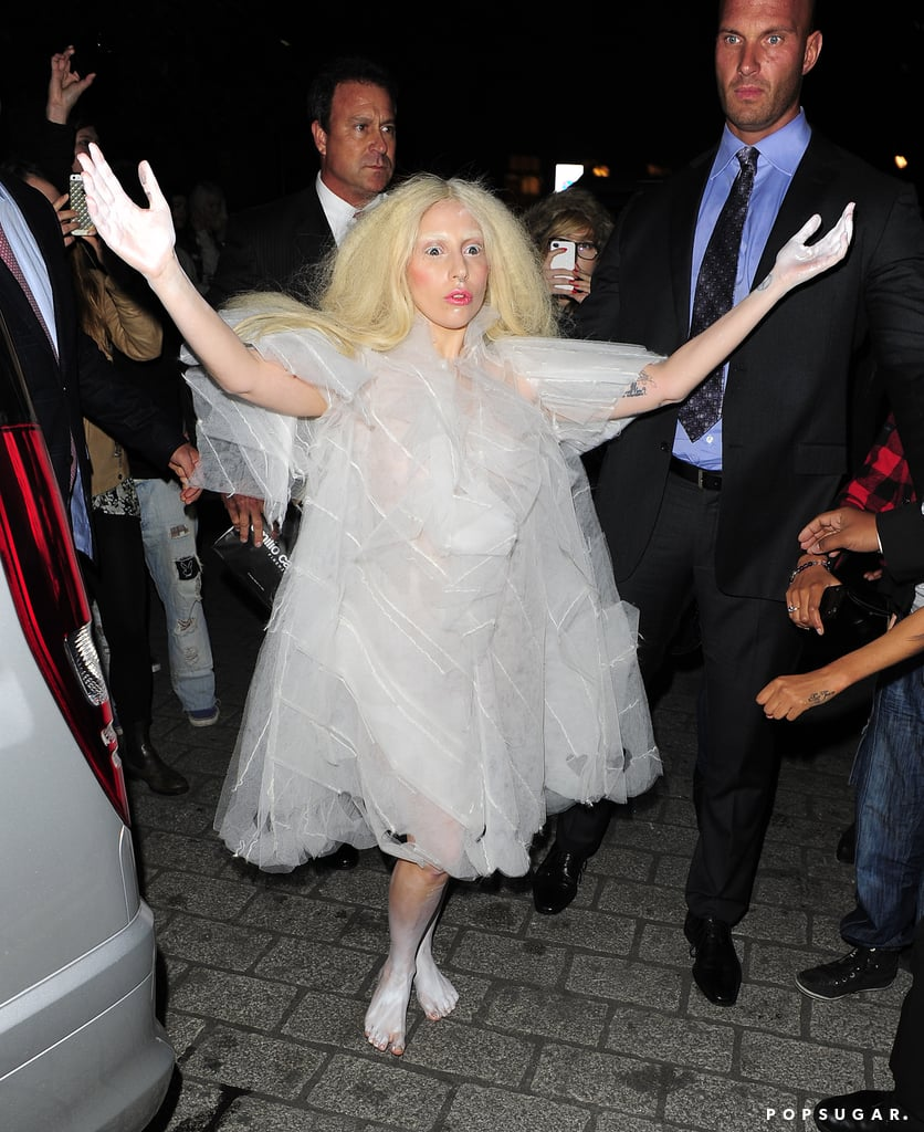 Hard to tell if this is Lady Gaga as a ghost or Gaga just being Gaga, but the singer made an appearance in London in a ghostly white costume in October 2013.