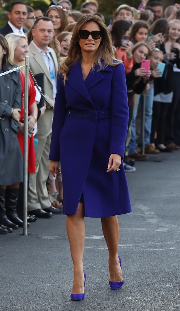 Melania Trump Purple Coat and Heels 2017