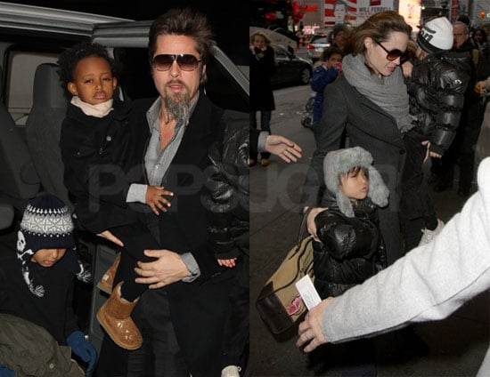 Photos of Brad Pitt And Angelina Jolie Bringing Maddox, Pax, Zahara And Shiloh to See Mary Poppins on Broadway