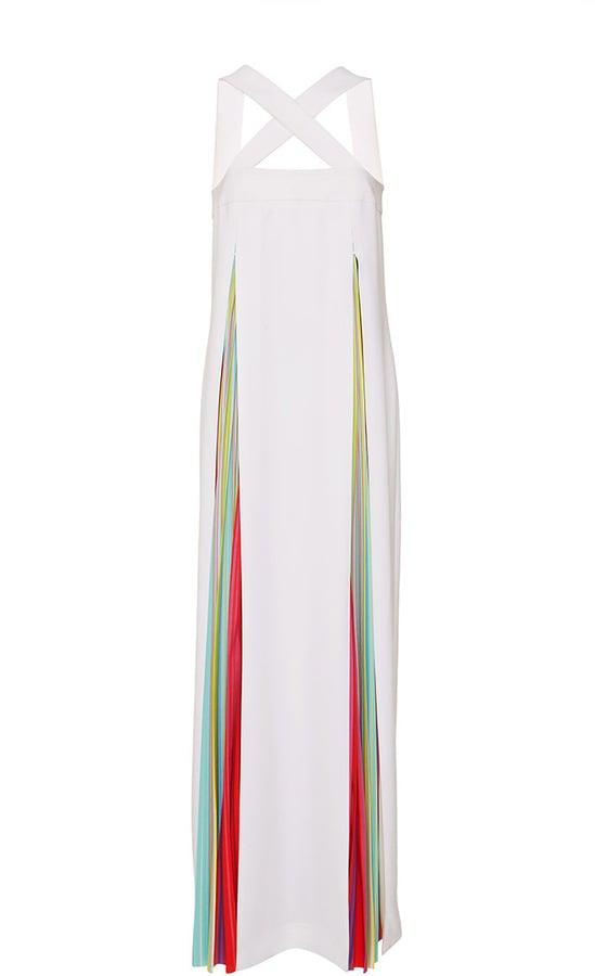 Mary Katrantzou White Amsonia Gown With Rainbow Pleats ($3,200)