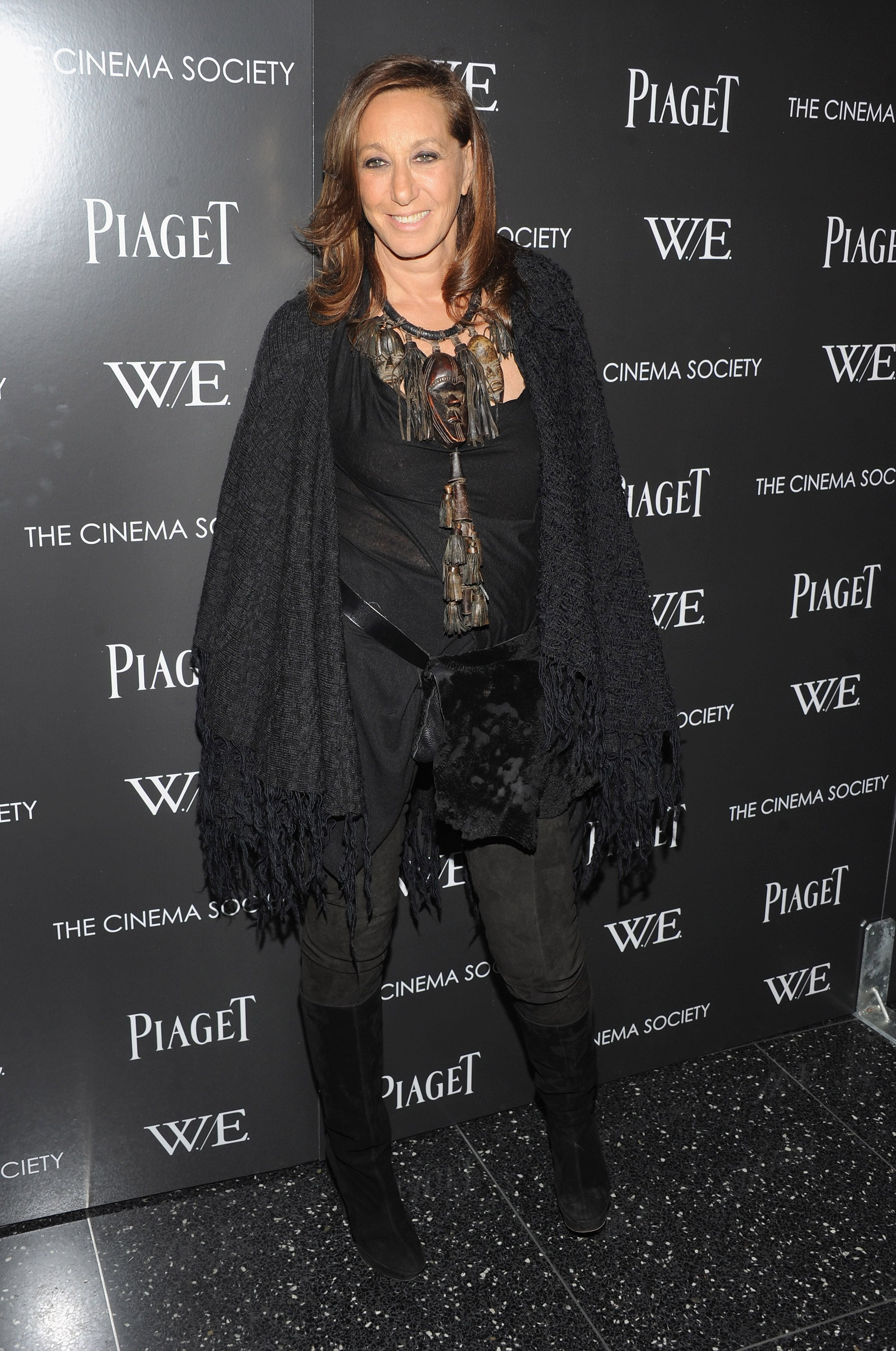Donna Karan mixed black separates and eclectic jewels at the W.E. film screening.