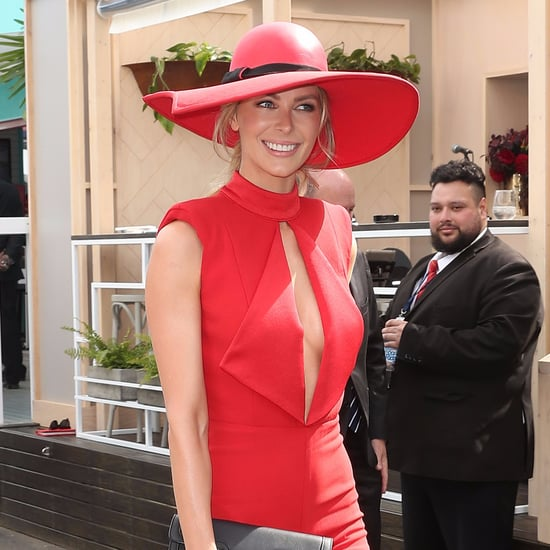 Jennifer Hawkins Wearing a Red Jumpsuit Melbourne Cup 2016