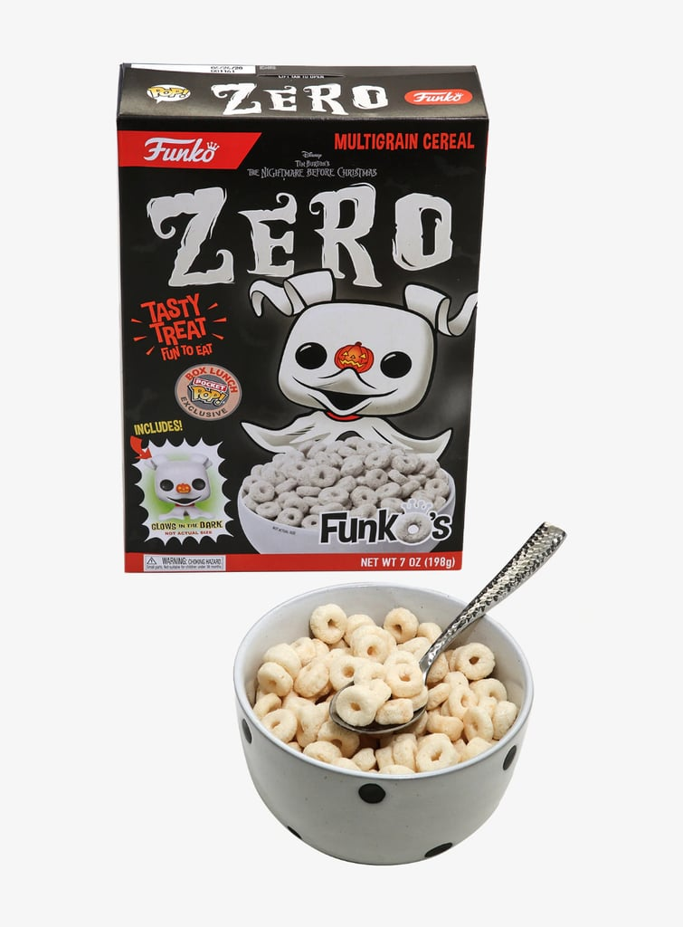 When it comes to surprises in the moonlit night — or on a misty Halloween morning — this Nightmare Before Christmas Zero Cereal ($11) from BoxLunch is definitely a treat in my book. The adorable, bone-white cereal, based on the Disney Halloween-Christmas classic, was inspired by Jack Skellington's floating ghost dog Zero, and every box comes with a 1.5-inch-tall glow-in-the-dark Funko Pocket Pop of the spectral pup himself — spooktacular!  The multigrain cereal contains gluten and is produced in a facility that also uses soy, dairy, and tree nuts, so keep that in mind before serving up a bowl to your own Oogie Boogie gang. It may not be red, black, or slimy green, but this frighteningly cute cereal is a Halloween must, so take a closer look at the adorable breakfast ahead.       Related:                                                                                                           There's Nothing Nightmarish About the Secret Sally Frappuccino at Starbucks