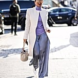 White accessories instantly set off a monochromatic ensemble.