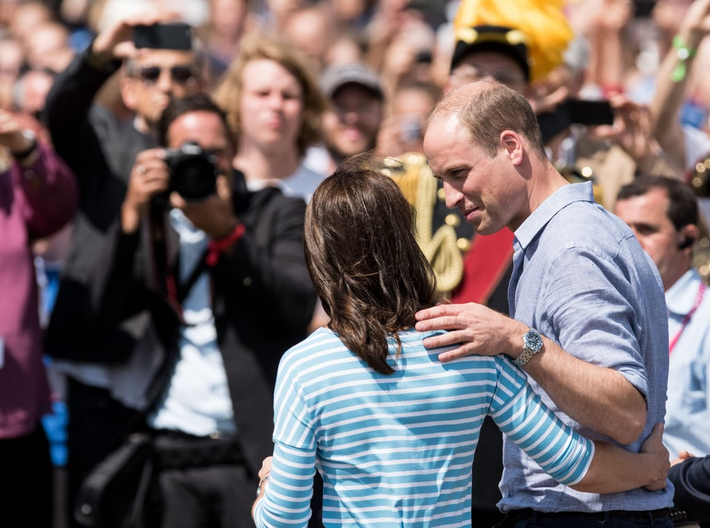 "Prince William and Kate Middleton don't show PDA often, but when they do, it's superadorable. Aside from cozying up during sporting events, there is one thing that Will does when they're not facing the cameras that is especially sweet — he touches Kate's back. Whether he's helping his wife down the steps, or he's pulling her in for a hug, we can't get enough of the pair's ""touching"" moments. And he's not the only royal with a signature move. Kate has her own way of showing off her love for Will. See their discrete PDA below.       Related:                                                                                                           Kate and Will's Cutest Moments From 2018 Will Slap a Huge Smile on Your Face"