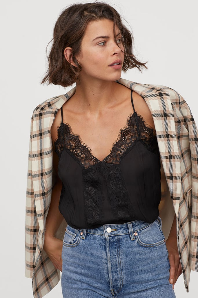 Simply Be Womens Wrap Front Top With Lace