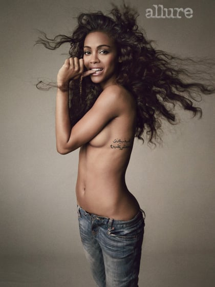 Zoe Saldana went topless for her Allure magazine shoot. Source: Tom Munro for Allure