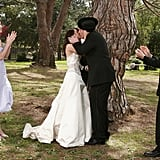 Marshall and Lily's wedding has its fair share of mishaps (like Marshall's bald patch covered up by a fedora), so they elect to have a private ceremony with just Ted and Robin in attendance and Barney as officiant.