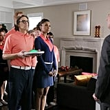 Toks Olagundoye, Simon Templeman, and Mitch Rouse on The Neighbors. Photo copyright 2012 ABC, Inc.