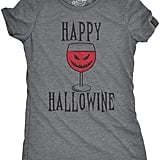 Happy Hallowine Funny Halloween Wine Glass Drinking T-Shirt