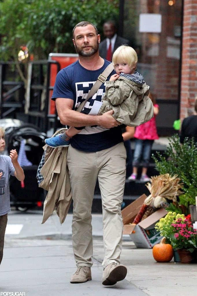 Liev Schreiber made his way down the sidewalk with Kai Schreiber.