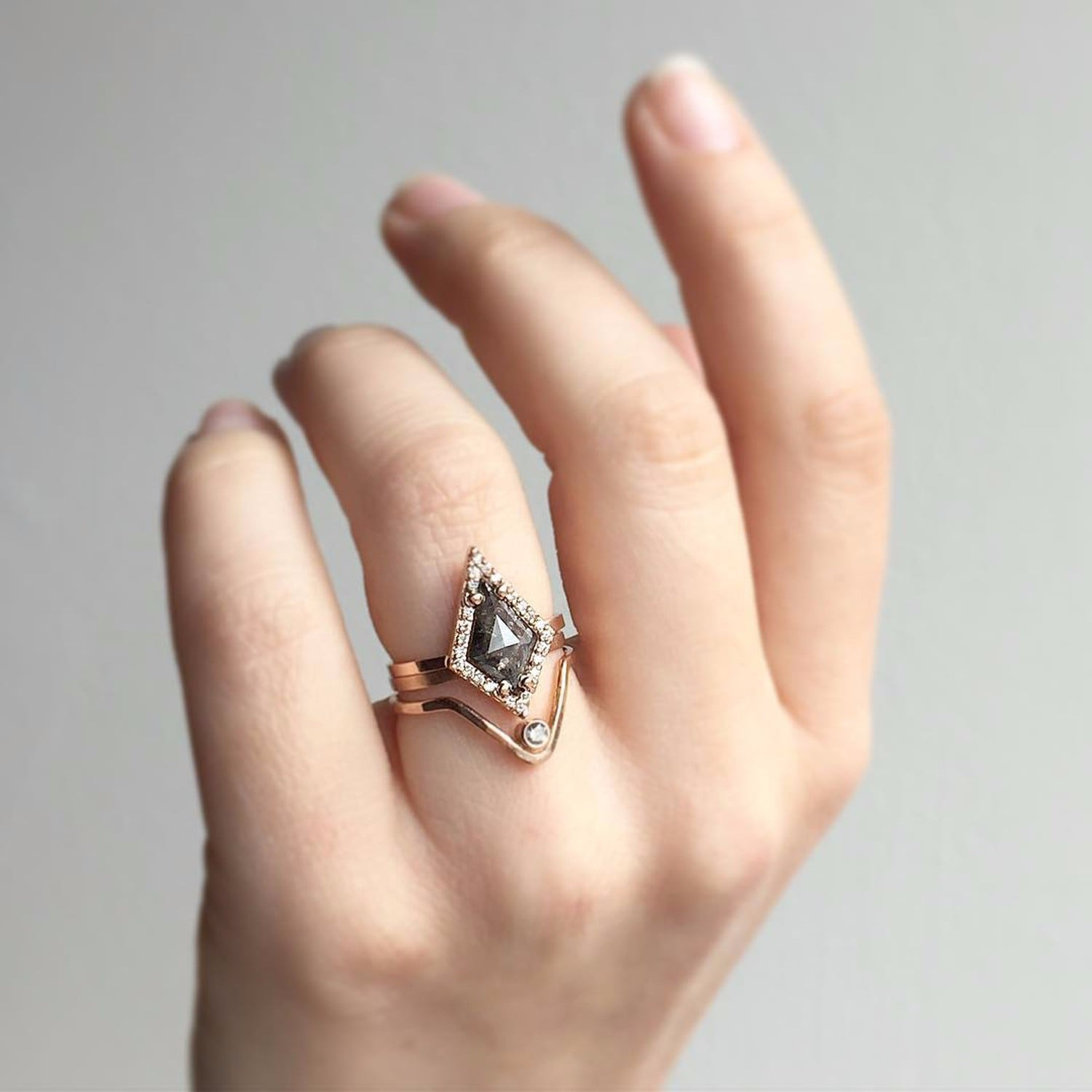 satomi catbird ring rings white hex hexagon gold diamond grey