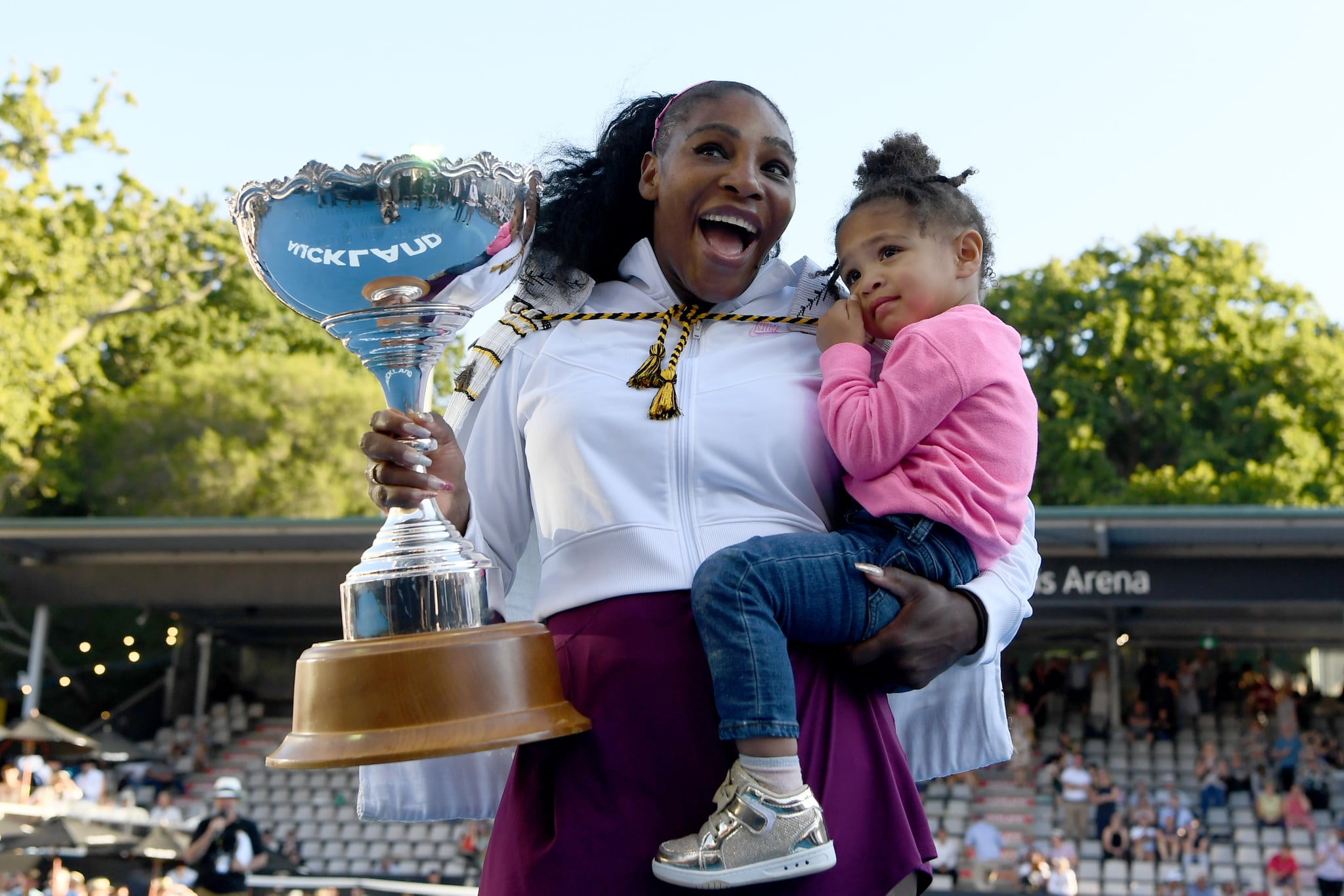 AUCKLAND, NEW ZEALAND - JANUARY 12:  Serena Williams of the USA celebrates with daughter Alexis Olympia after winning the final match against Jessica Pegula of USA at ASB Tennis Centre on January 12, 2020 in Auckland, New Zealand. (Photo by Hannah Peters/Getty Images)