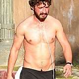 Shia LaBeouf Stays in Shape With a Shirtless Exercise Session