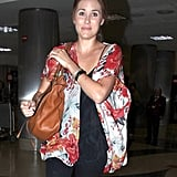 Lauren Conrad flashed a smile outside the airport.