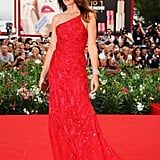 Cindy Crawford in red Roberto Cavalli.