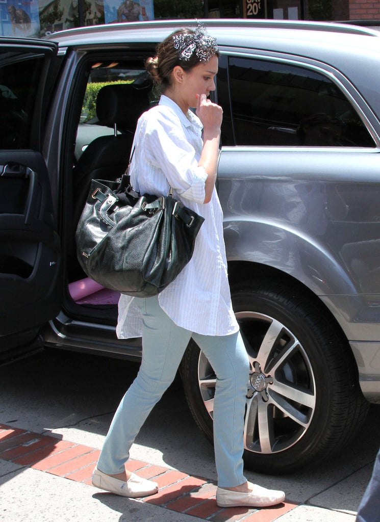 For Honor's birthday party in LA's Brentwood district, Jessica donned a pin-striped MiH button-down with mint denim and casual TOMS.