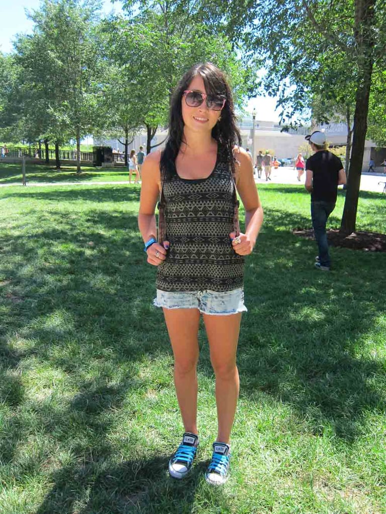 Brittni kept it simple with DIY cutoff jean shorts and a Forever 21 tank but kicked it up with neon-blue laces on her Converse sneakers.