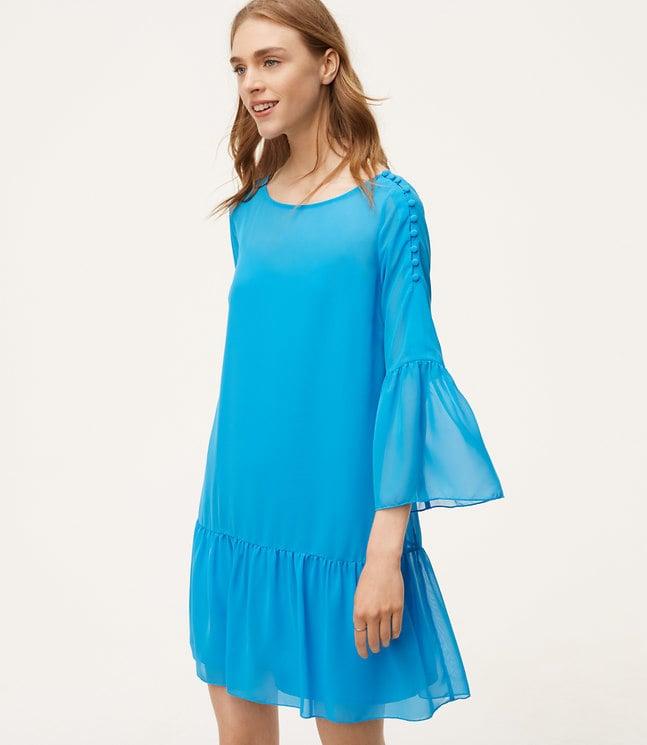 LOFT Petite Shoulder Button Flounce Dress
