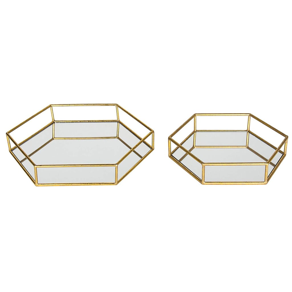 Kate and Laurel Felicia Metal Mirrored Decorative Trays