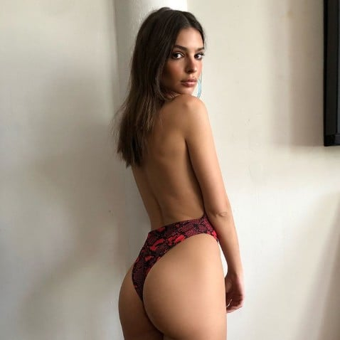 Emily Ratajkowski Red Snakeskin Swimsuit