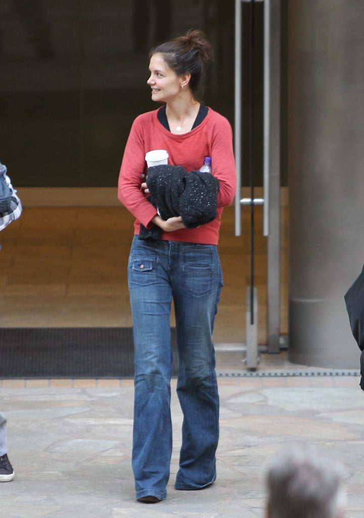Katie Holmes wore flared jeans.