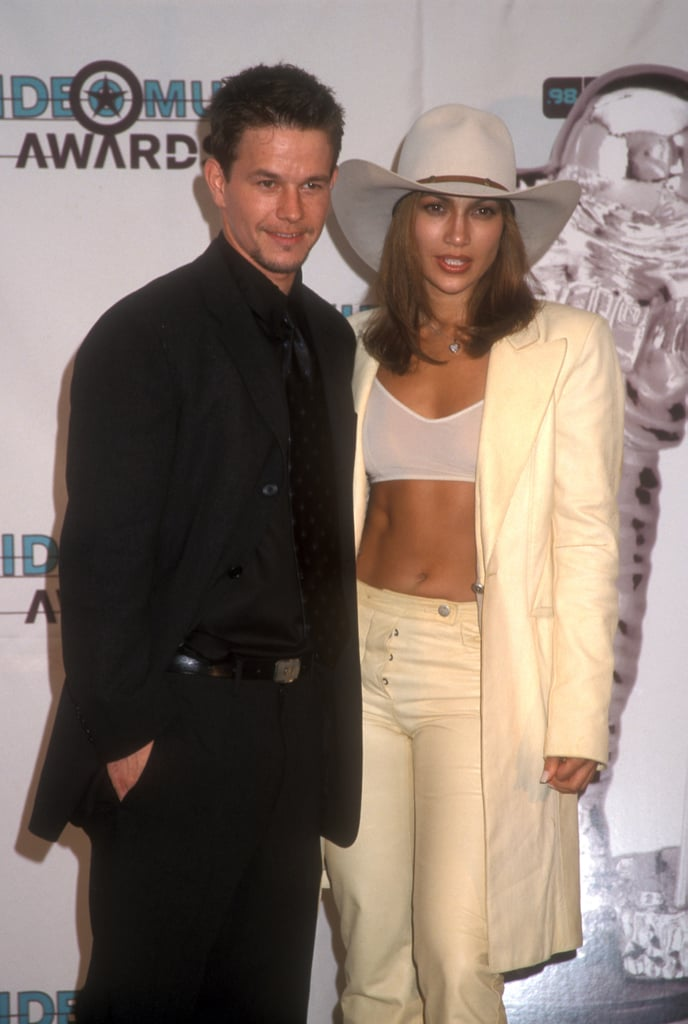 Mark Wahlberg and Jennifer Lopez posed together at the 1998 MTV Movie Awards.