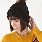 Cable Knit Fur Pompom Beanie