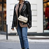Go edgy with your skinny jeans look this fall by layering on the boxier and more oversize jackets and coats in your closet for a masculine-meets-feminine vibe.