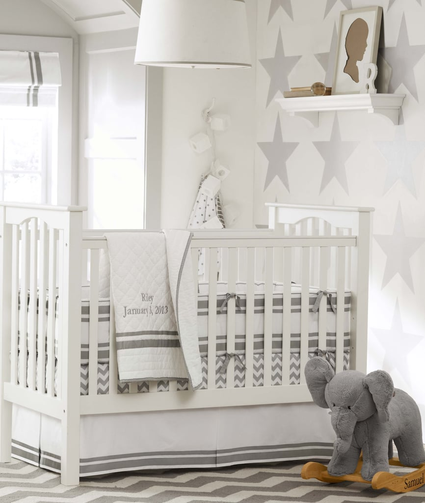 Pottery Barn Kids' Harper collection isn't new, but this beautifully styled room is. The gray and white theme (an extension of its gray and yellow room from the Fall) is the ultimate in cool decor. From the star-filled wall and chevron rug to the drum light and elephant rocker, this room is filled with ideas worthy of stealing for your own tot.