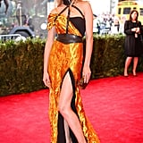 Wes Gordon Hand Sculpted Metal Goddess Gown ($35,610), worn by Constance Jablonski Source: Julian Mackler/BFAnyc.com