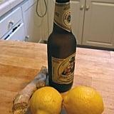 Ginger, pilsner-style beer, and lemons