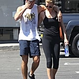 Emily VanCamp and Josh Bowman left the gym with their arms around each other.