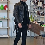Justin Theroux wore all black.