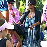 Halle Berry chatted with a friend at Disneyland.