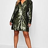 Boohoo Boxy Sequin Blazer Dress