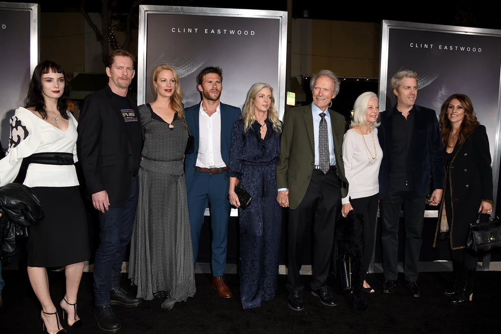 It was a family affair at Clint Eastwood's LA premiere of his new movie, The Mule, on Monday night. The 88-year-old actor was joined by his 32-year-old son Scott, his 50-year-old son Kyle and Kyle's wife Cynthia Ramirez, his 48-year-old daughter Alison and her husband Stacy Poitras, his 25-year-old daughter Francesca, his 21-year-old daughter Morgan, his 24-year-old granddaughter Graylen, his 87-year-old ex-wife Maggie Johnson, and his 55-year-old girlfriend Christina Sandera. The blended brood put on a united front as they posed for pictures on the red carpet, however, missing from the fun were Clint's other children Kimber, 54, and Kathryn, 30. The Mule marks Clint's return to the big screen following a six-year hiatus. In the film — which is based on the true story of Sinaloa Cartel mule Leo Sharp — Clint plays a man named Earl Stone who gets busted for drug trafficking. The Mule hits theaters on Dec. 14.       Related:                                                                                                           You Guys, Clint Eastwood Was a Stone-Cold Fox When He Was Younger