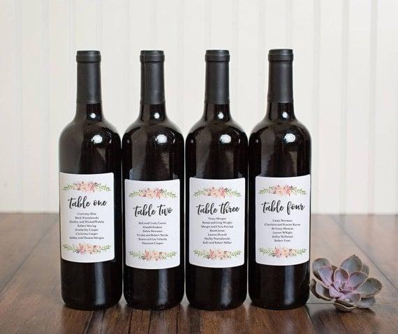 Wine Bottle Label Wedding Seating Chart