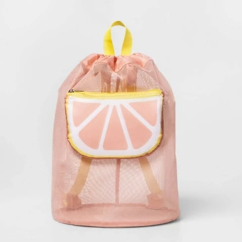 Mesh Cinch Bag With Grapefruit Pocket Tote Pink