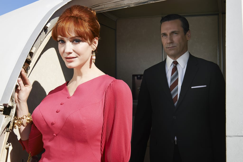 Joan (Christina Hendricks) and Don (Hamm) arrive at their destination.