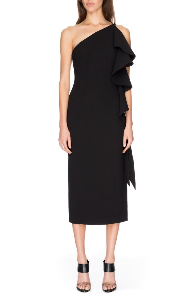 C/Meo Collective Two Can Win Ruffle One-Shoulder Midi Dress ($210)