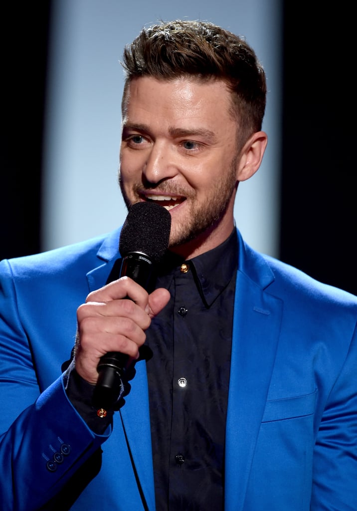 "Justin Timberlake made his way to LA on Sunday for the iHeartRadio Music Awards, where the singer received the night's biggest honor. This year, Justin took home the 2015 iHeartRadio Innovator Award, which celebrates his success in the entertainment world and his contributions to the music industry. For the fun night out, Justin sported a bright blue suit, and when he accepted his award, he said, ""You can't have innovation without creation, so finally, I want to thank my best friend, my favorite collaborator — my wife, Jessica, at home, who's watching."" He added, ""Honey, I can't wait to see our greatest creation yet. Don't worry, Daddy's heading home right now to innovate by learning how to change a poopy diaper and get my swaddle on."" The show marks the latest in a series of very exciting moments in Justin's big year. On his birthday, Jan. 31, he and his wife, Jessica Biel, announced that they're expecting their first child, and since then, everyone's been freaking out about baby Timberlake. Meanwhile, the cute couple has added to their long list of sweet moments together, including a cute set visit in New Orleans and their one last date night before welcoming their baby. Keep reading to watch Justin's acceptance speech and see the best pictures from his night, then check out all the stars' arrivals at the iHeartRadio Music Awards! Source: Getty / Kevin Mazur"