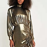 Pins & Needles Metallic Gold Ruched and Ruffled Dress (£69)