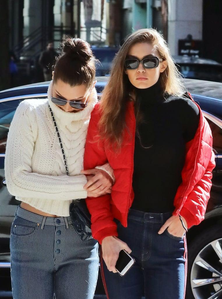 Bella Wore Gigi's Tommy Hilfiger x Gigi Cable-Knit Turtleneck . . .